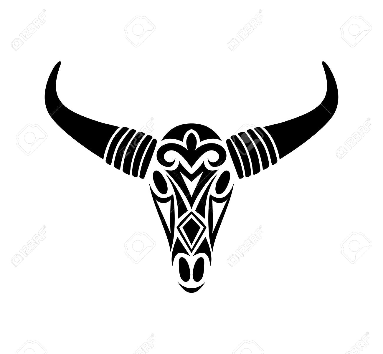1300x1202 Bull Skull Silhouette Seamless Pattern Royalty Free Vector Clip