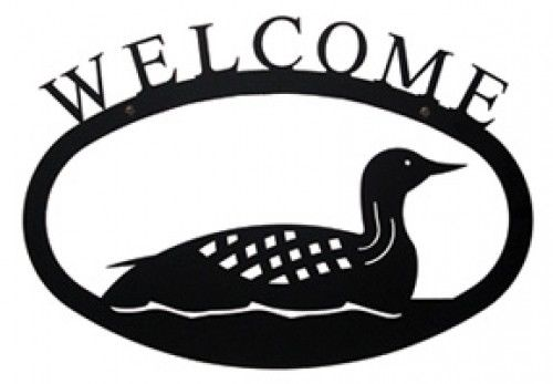 500x347 Wrought Iron Welcome Sign Loon Silhouette Small Outdoor Plaque