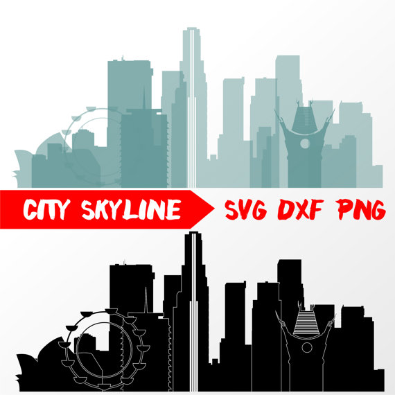 570x570 Los Angeles Vector Skyline, Los Angele Svg, Silhouette, Svg, Dxf