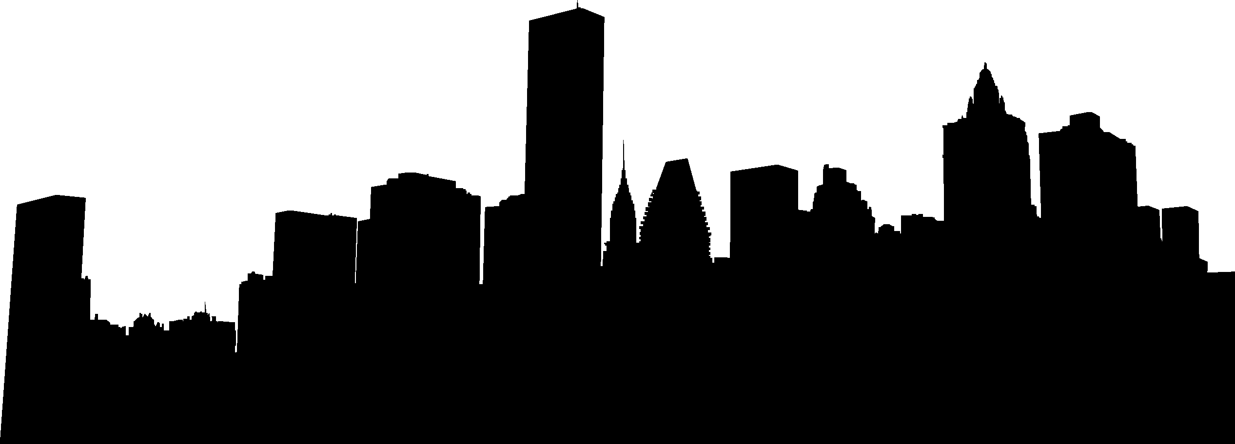 2533x911 City Skyline Silhouette 02 Vector Eps Free Download, Logo, Icons