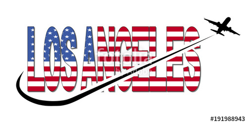 500x250 Los Angeles Flag Text With Plane Silhouette And Swoosh