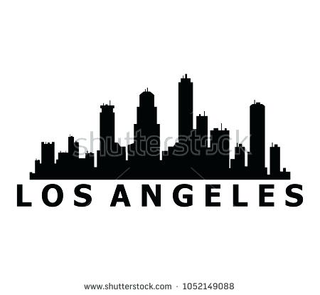 450x414 Los Angeles Skyline Silhouette With Skyline On White Background