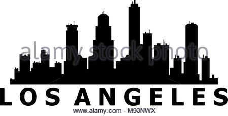 450x229 Los Angeles City Skyline Detailed Silhouette Stock Vector Art