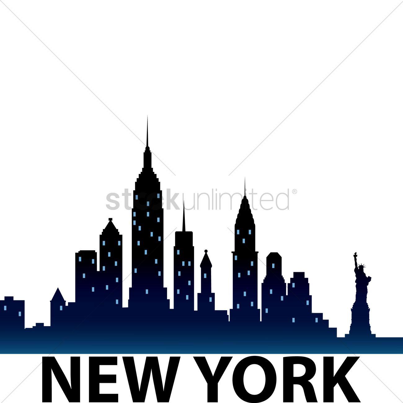 1300x1300 New York City Skyline Silhouette Vector Image