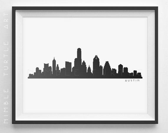 570x450 Austin Skyline Silhouette Printable Skyline Austin
