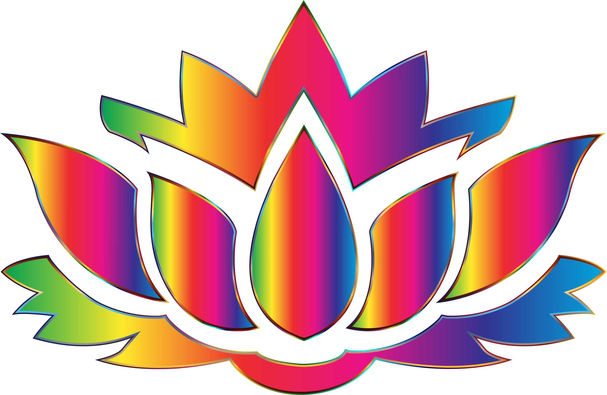 2346x1528 Rainbow Lotus Flower Silhouette No Background Icons Png