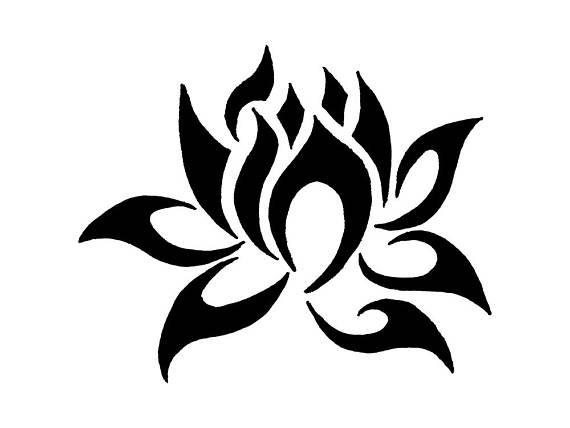 570x428 Stencil Floral Lotus Flower Stencil Decoration 5 Sizes Svg Pdf Png