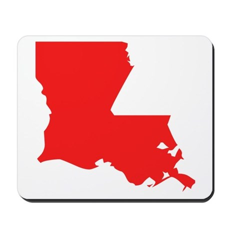 460x460 Red Louisiana Silhouette Mousepad By Stateshapesgifts