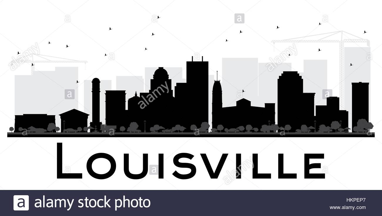 1300x738 Louisville City Skyline Black And White Silhouette. Simple Flat