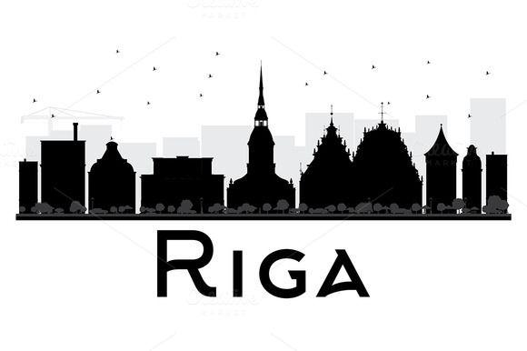 580x386 Riga City Skyline Silhouette Skyline Silhouette, City Skylines