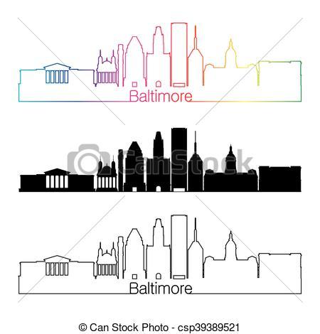 450x470 Baltimore City Skyline Clip Art Vector Graphics. 71 Baltimore City