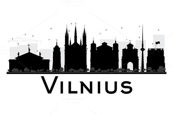 580x386 Vilnius City Skyline Silhouette Skyline Silhouette, City