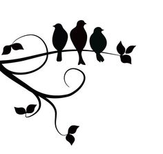 236x223 Svg 3 Birds On A Branch Silhouette Vector File For Cricut