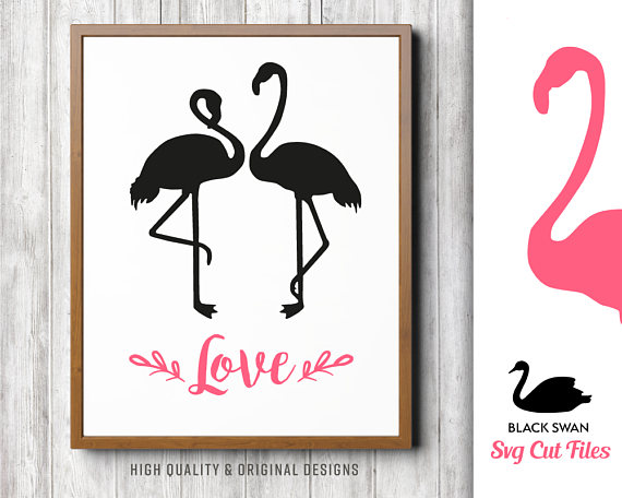 570x456 Svg Flamingo Love Couple Silhouette Eps, Svg, Dxf, Jpg, Png