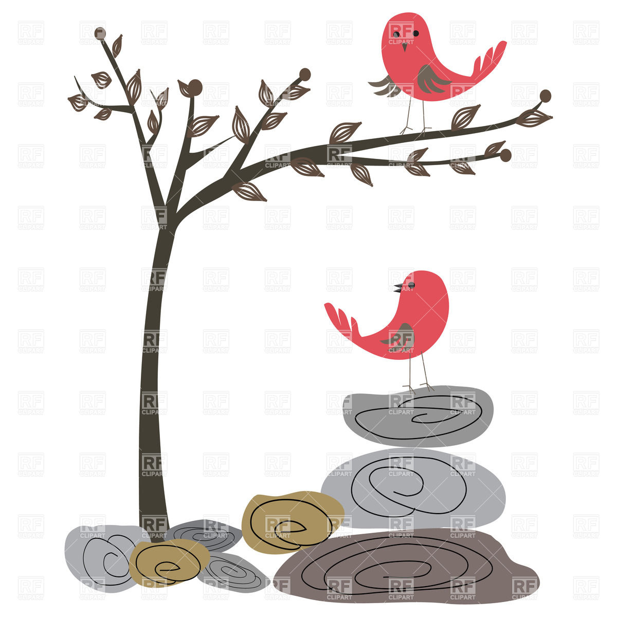 1200x1200 Two Red Birds, Tree And Stones Royalty Free Vector Clip Art Image