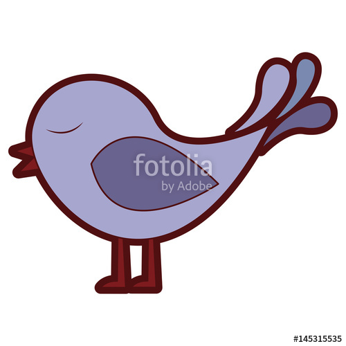500x500 Colorful Thick Silhouette Of Bird Singing Vector Illustration