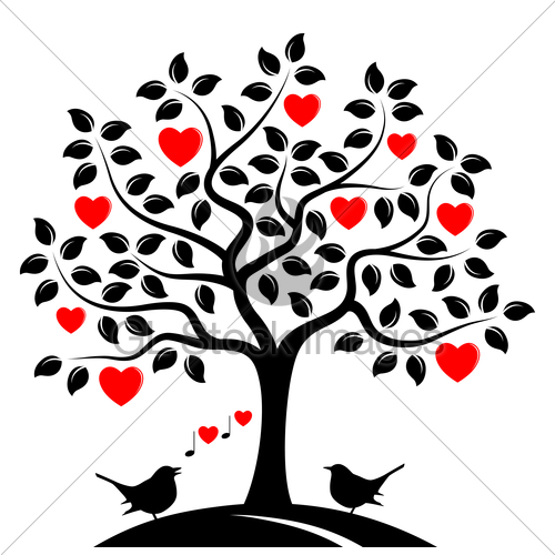 500x500 Heart Tree And Love Birds Gl Stock Images