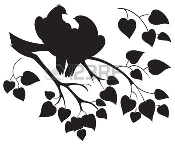 350x290 Vector Silhouette Of Love Birds Sitting On Branch Tree Photo