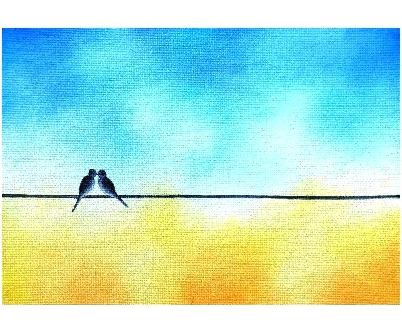 825x689 Birds On Wire Painting Bird On Wire Painting Baby Bird On