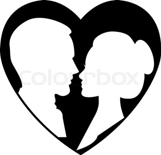 320x307 Kissing Rabbits Couple Silhouette Stock Vector Colourbox