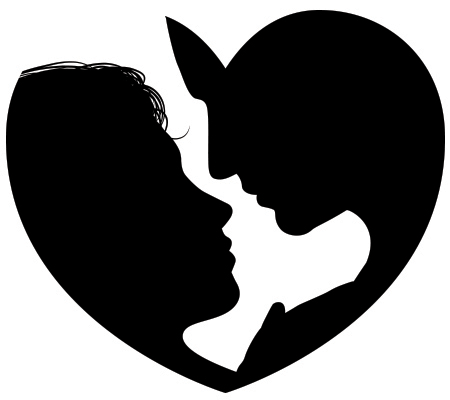 450x400 Couple Heart Silhouette Couple Silhouette, Silhouettes And Svg File