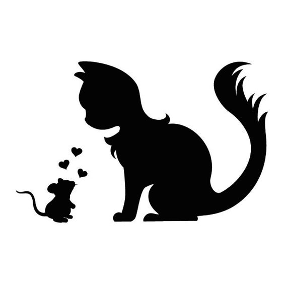 564x564 Cute Wall Tattoo Mouse And Cat In Love Silhouette Dxf File Free