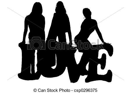 450x320 Silhouette Of Love. Silhouette Over White. Three Woman