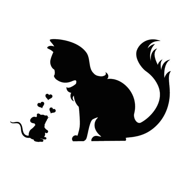 600x600 Cute Wall Tattoo Mouse And Cat In Love