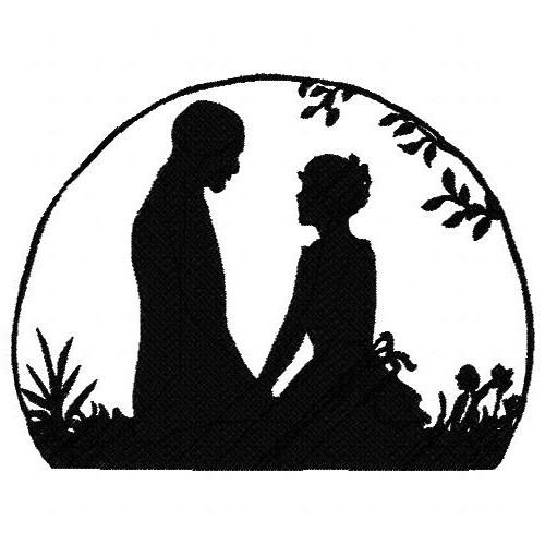 500x500 Ld006 Silhouette Lovers Large U And I Unique Embroidery And Art