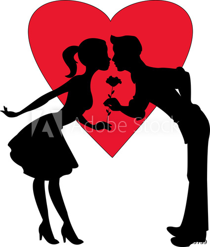 425x500 Lovers Silhouette On A Red Heart Background