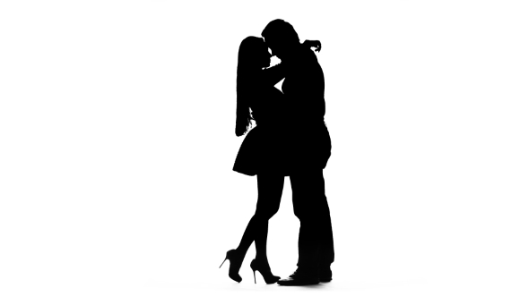 590x332 Pair Of Lovers Kissing. White Background. Silhouette By Kinomaster