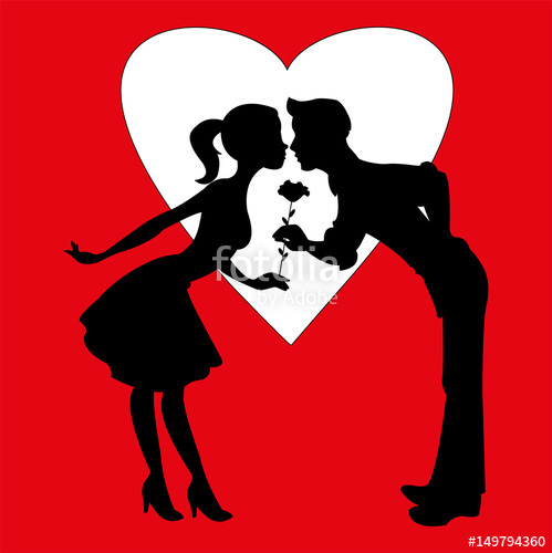 499x500 Vector Illustration Of Lovers Silhouettes On Red Background