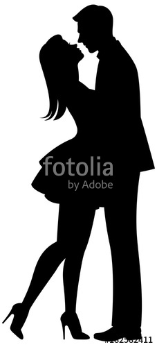 227x500 Kiss Of Lovers Vector Black Silhouette On White Background Stock
