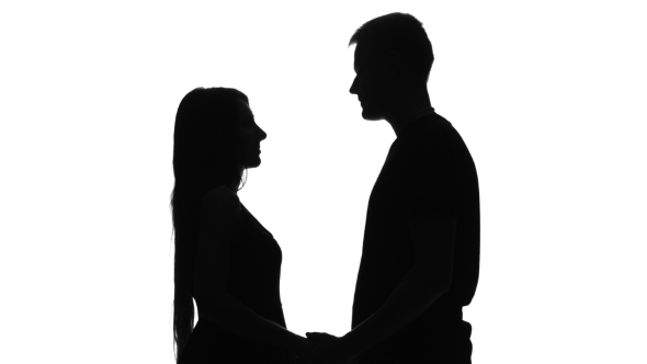 590x332 Silhouette Of Two Lovers. Silhouette. White By Kinomaster Videohive