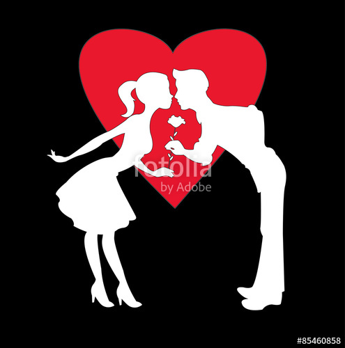 495x500 Vector Illustration Of Two Lovers White Silhouette On Black