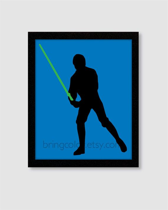 570x713 Star Wars Luke Skywalker Silhouette Wall Art Print 8x10 For Boys