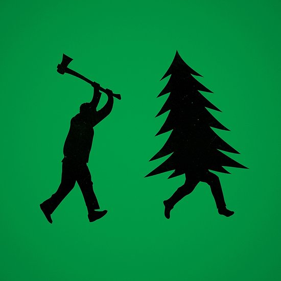 550x550 Funny Christmas Tree Is Chased By Lumberjack Run Forrest, Run