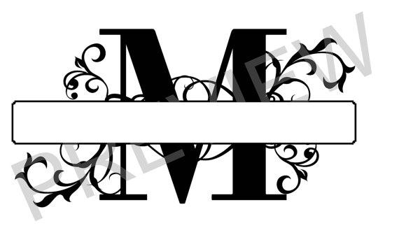 570x356 Split Monogram Svg, Letter M Regal Split Alphabet, Vector Files