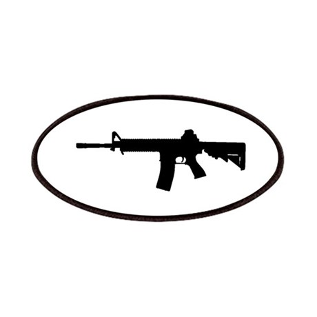 460x460 Assault Rifle M4 Carbine Silhouette American Flag Patches