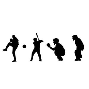 300x300 Baseball Players Silhouette For Macbook Air Pro Laptop Car Window