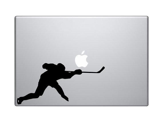 570x428 Hockey Player Slapshot Silhouette Version 5 Macbook Vinyl