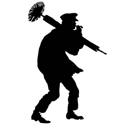 425x425 Chimney Sweeper Silhouette Decal Car Sticker, Brown, 8
