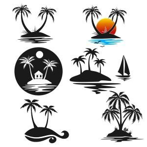 300x300 Palm Tree Island Cuttable Design Cut File. Vector, Clipart