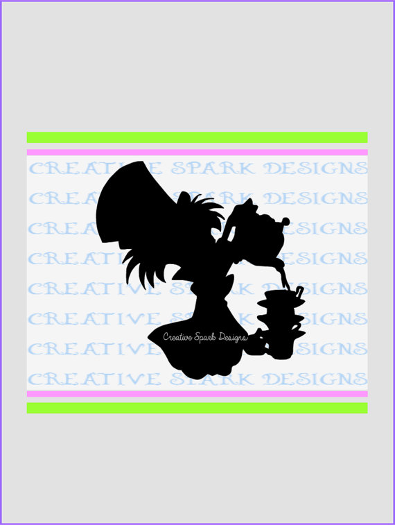 570x757 Mad Hatter Tea Party Silhouette
