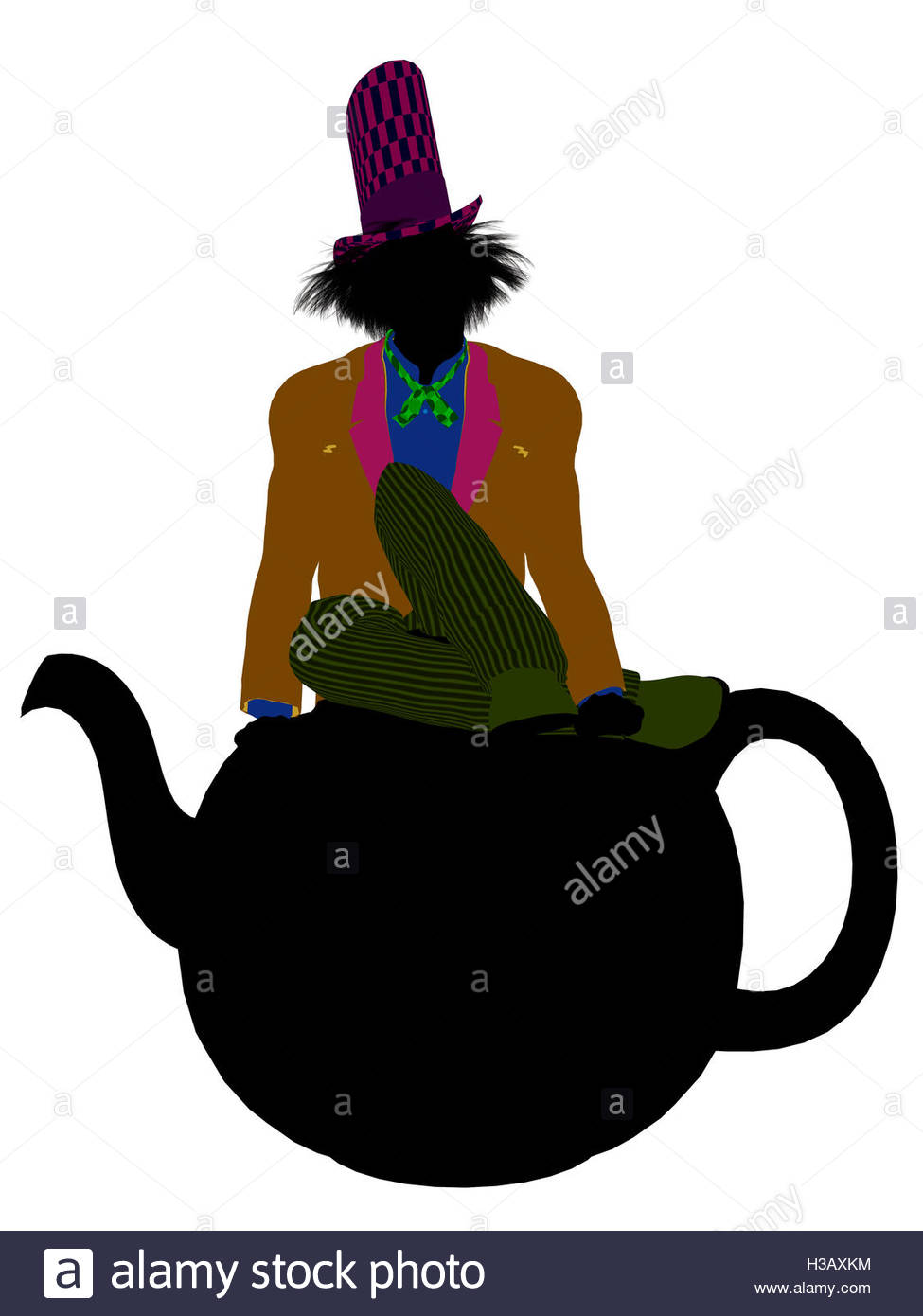 975x1390 Madhatter Silhouette Illustration Stock Photo, Royalty Free Image