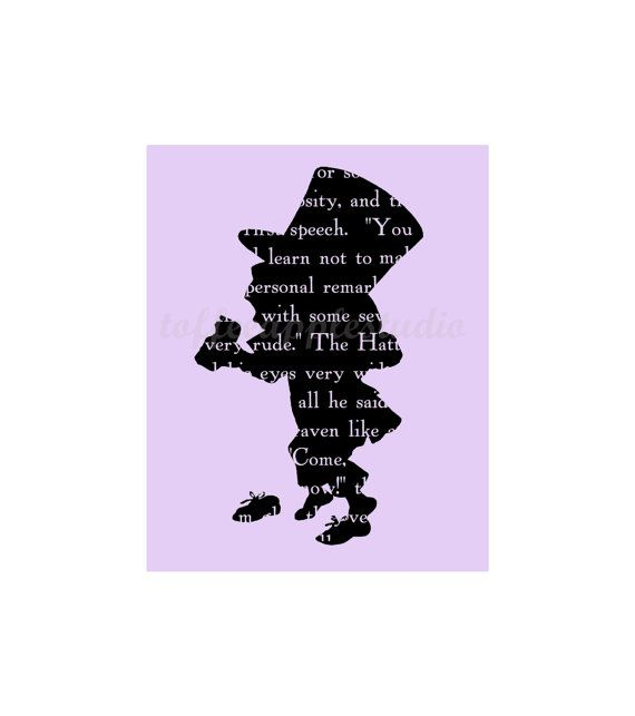 570x643 Printable Mad Hatter Silhouette Text 8 X 10 By Toffeeapplestudio