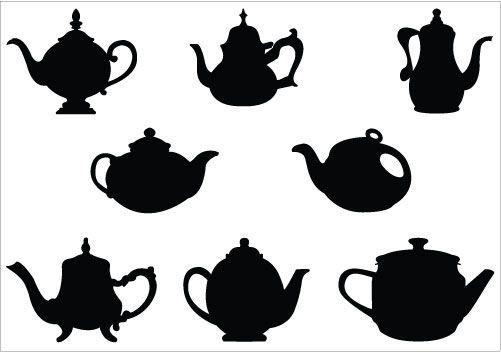 501x352 Teapot Silhouette Vector Illustrations Teacup Vector Clipart