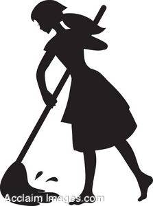 223x300 Silhouette Clipart Image Of A Young Maid Mopping