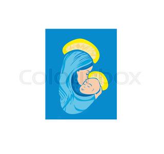 320x302 Madonna And Child Jesus Stock Vector Colourbox