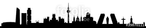 500x97 Madrid Skyline Silhouette Hauptstadt Spanien Stock Image